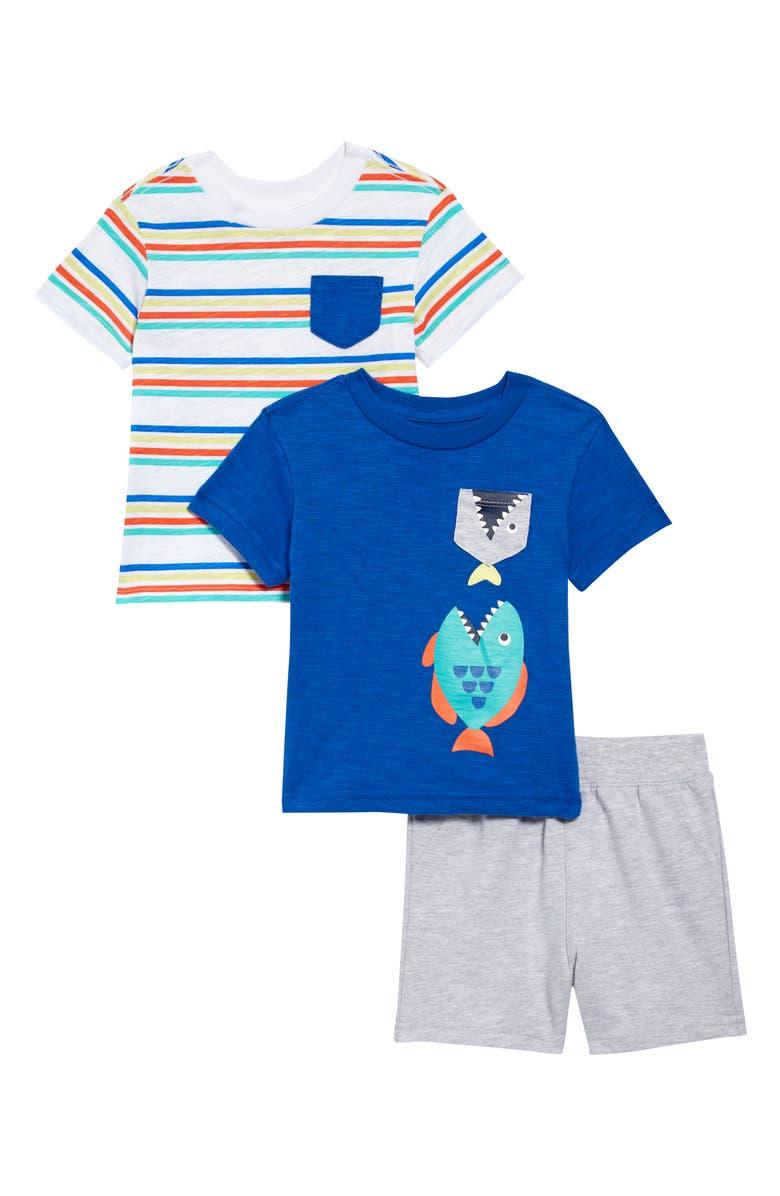 LITTLE ME Fish T-Shirts & Shorts Set, Main, color, BLUE MULTI