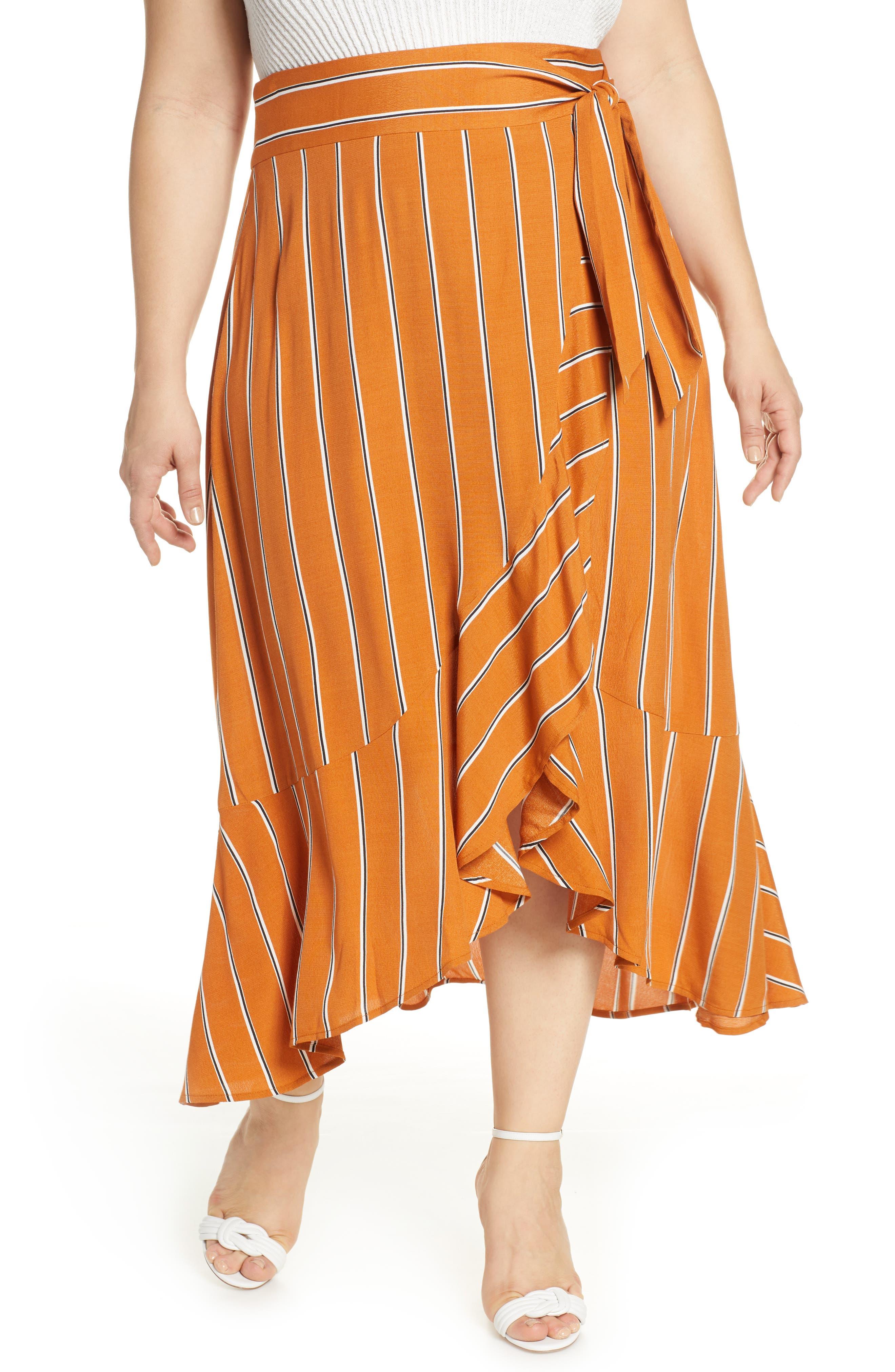 Plus Size Leith Flowy Wrap Midi Skirt