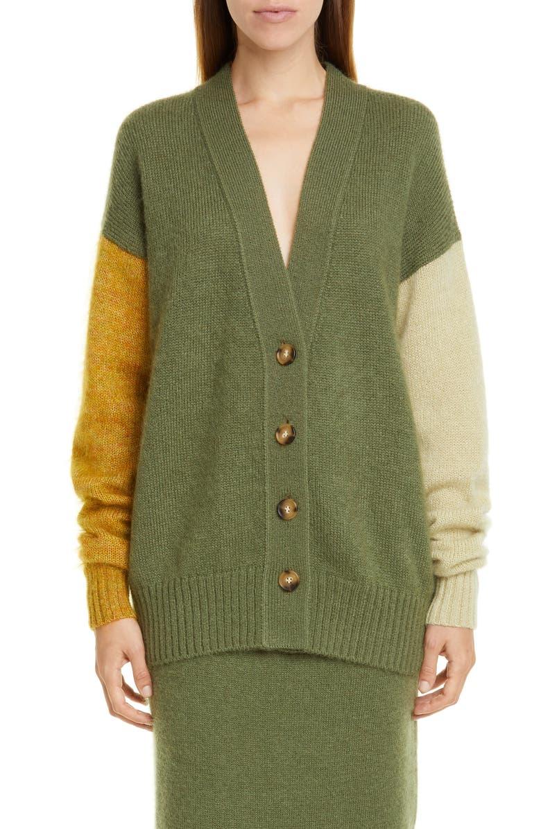 REJINA PYO Murphy Colorblock Mohair Blend Cardigan, Main, color, MOHAIR GREEN/ TOPAZ MIX