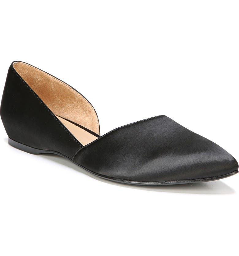 NATURALIZER Samantha Half d'Orsay Flat, Main, color, BLACK SATIN FABRIC