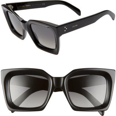 Celine 51mm Polarized Square Sunglasses - Black/ Smoke