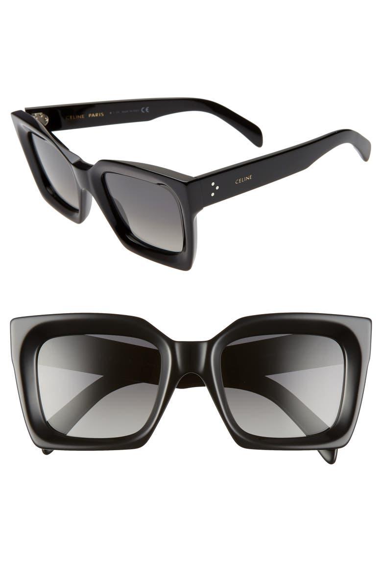 CELINE 51mm Polarized Square Sunglasses, Main, color, BLACK/ SMOKE