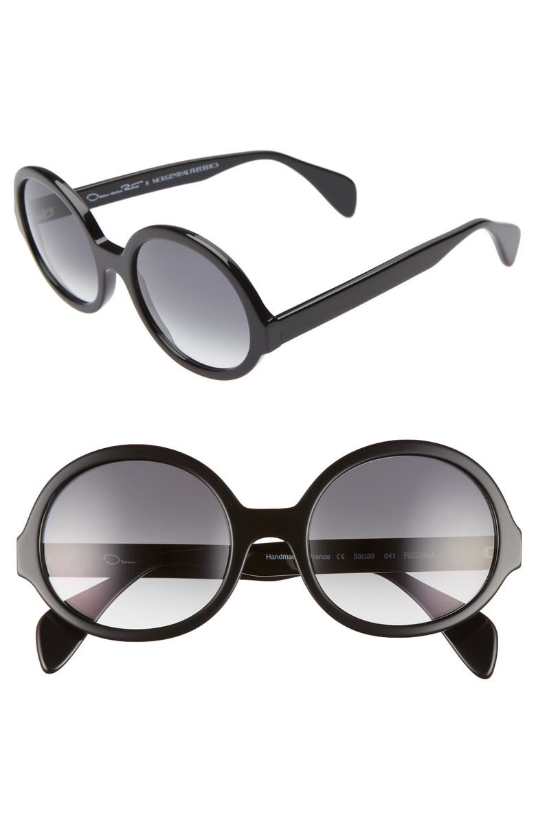 OSCAR DE LA RENTA X MORGENTHAL FREDERICS Regina 55mm Sunglasses, Main, color, BLACK