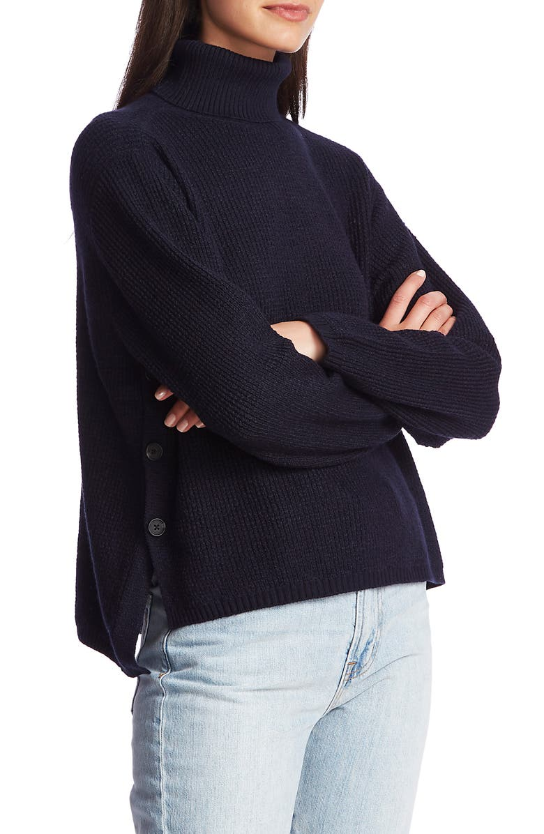 1.STATE Side Button Waffle Weave Turtleneck Sweater, Main, color, BLUE NIGHT
