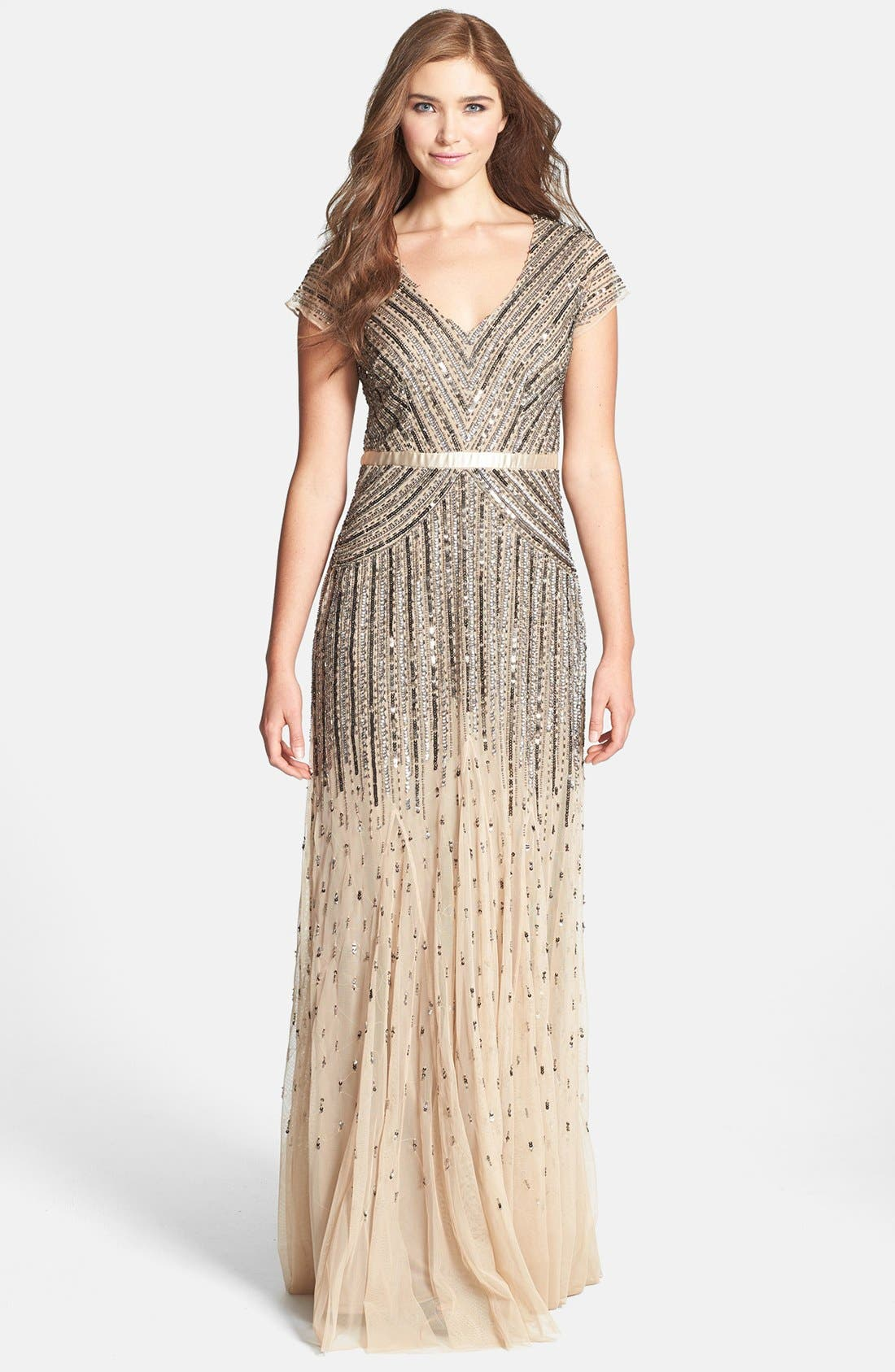 ,                             Embellished Mesh Gown,                             Main thumbnail 7, color,                             291