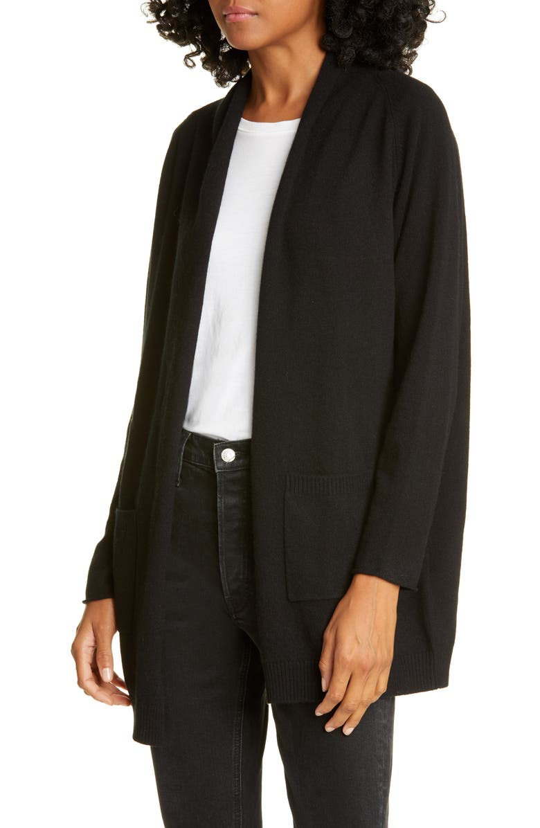 ALLUDE Wool & Cashmere Open Cardigan, Main, color, BLACK