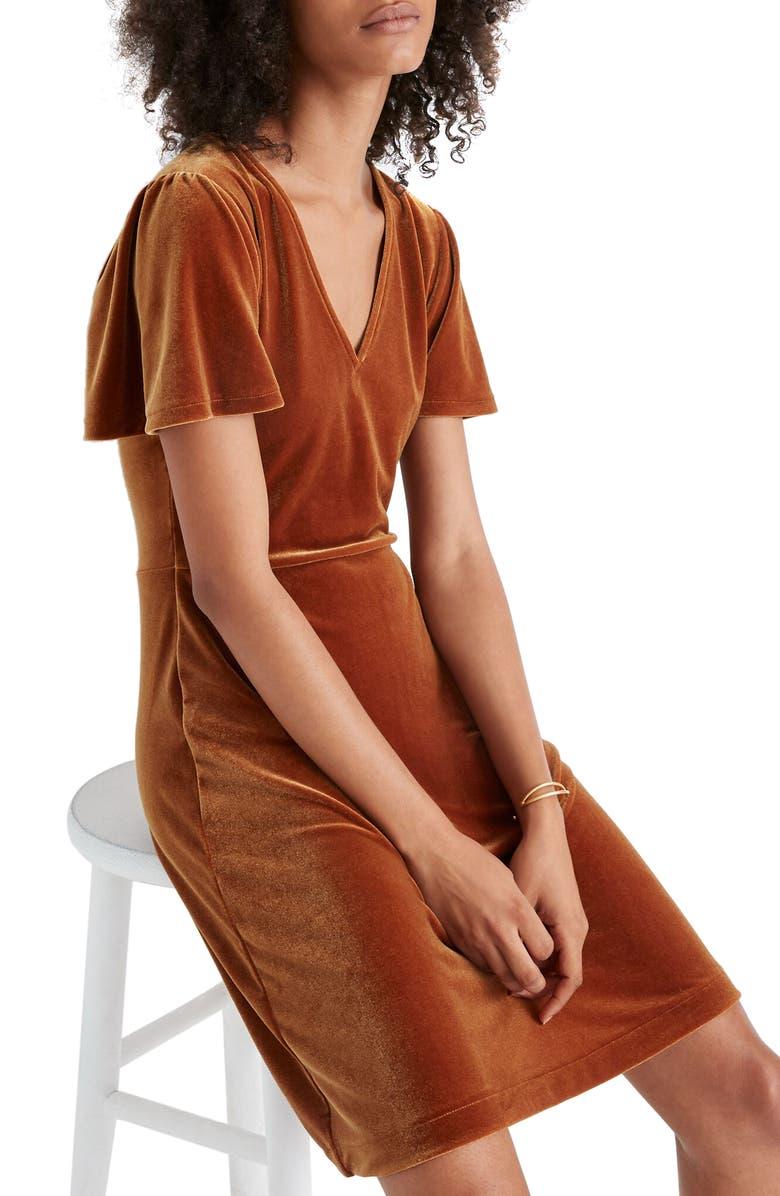 MADEWELL V-Neck Flutter Sleeve Velvet Dress, Main, color, GOLDEN PECAN