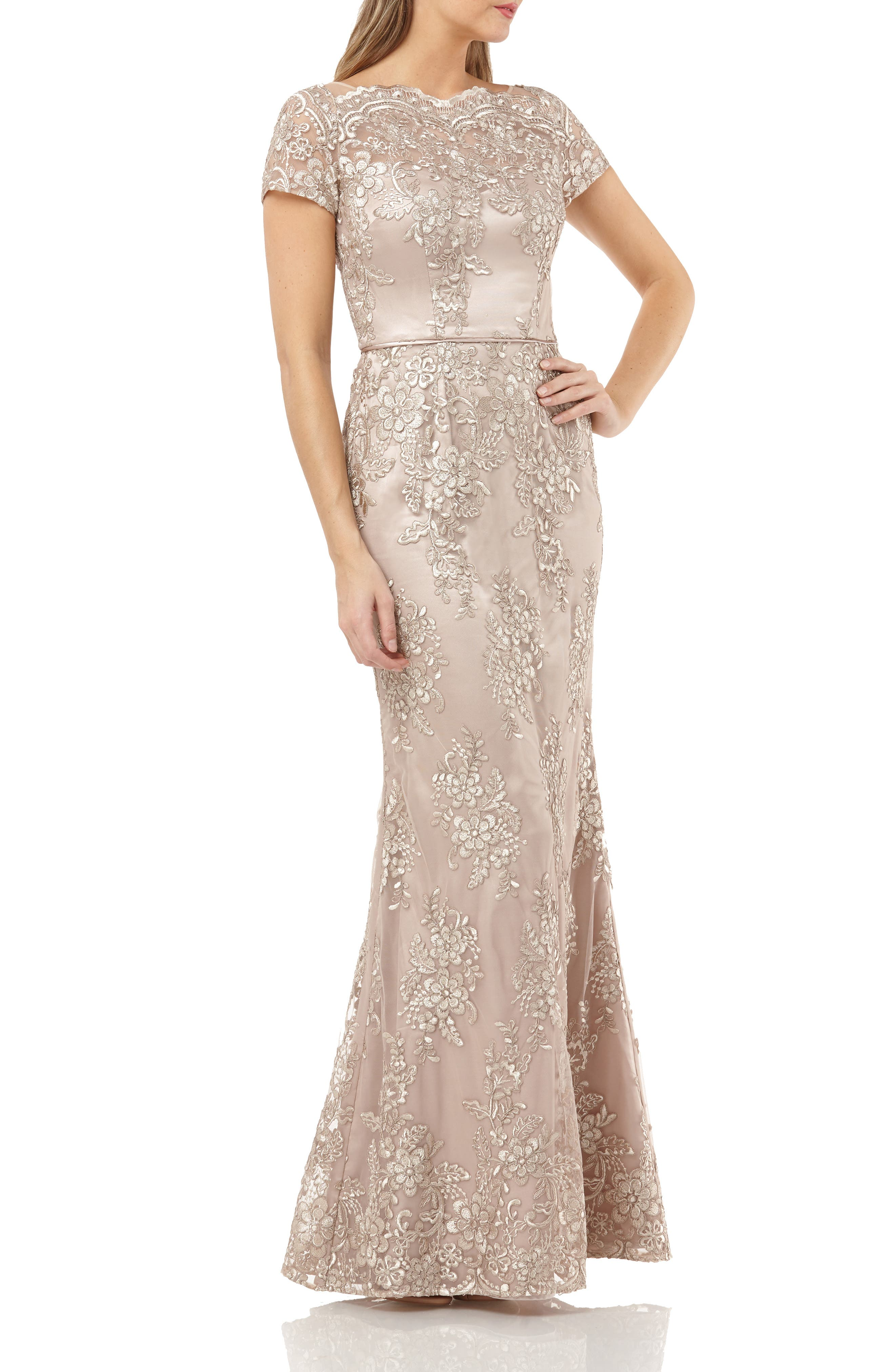 Js Collections Embroidered Mermaid Gown, Beige