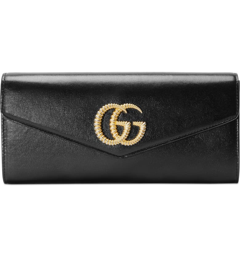 GUCCI Broadway Leather Evening Clutch, Main, color, NERO