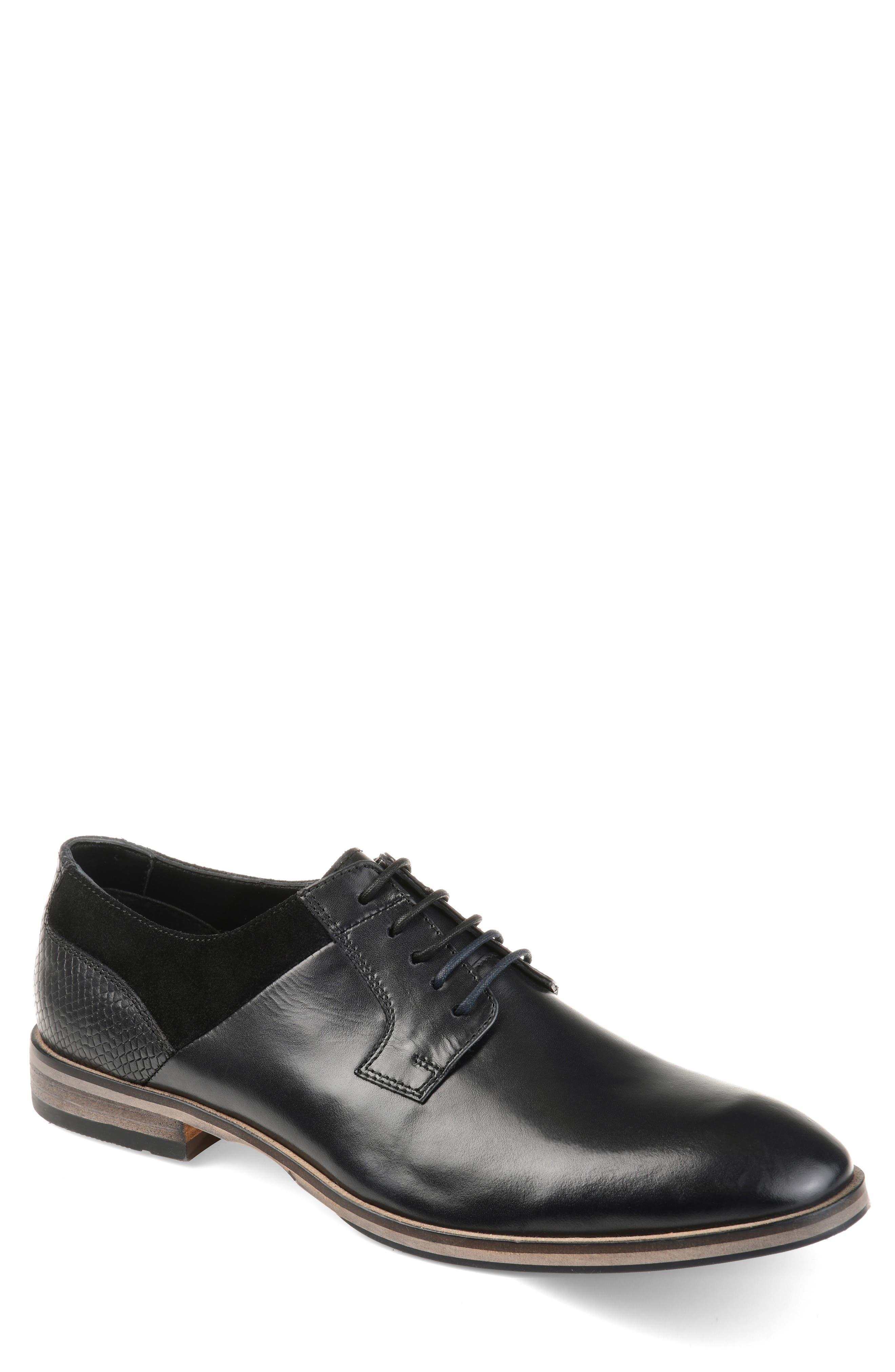 Jaxon Plain Toe Derby, Main, color, BLACK LEATHER