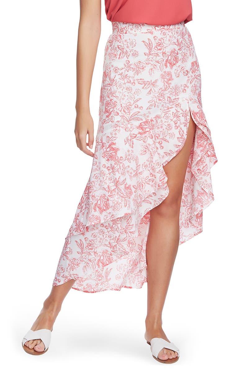 1.STATE Porcelain Floral Print High/Low Maxi Skirt, Main, color, SOFT ECRU