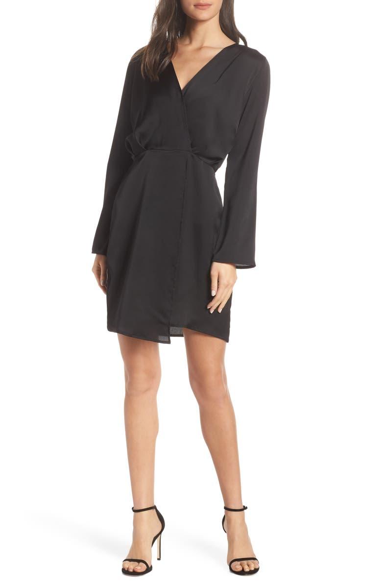 FRAICHE BY J Satin Dress, Main, color, BLACK
