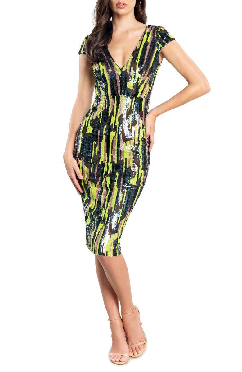 DRESS THE POPULATION Sequin Stripe Body-Con Midi Dress, Main, color, LEMONGRASS MULT