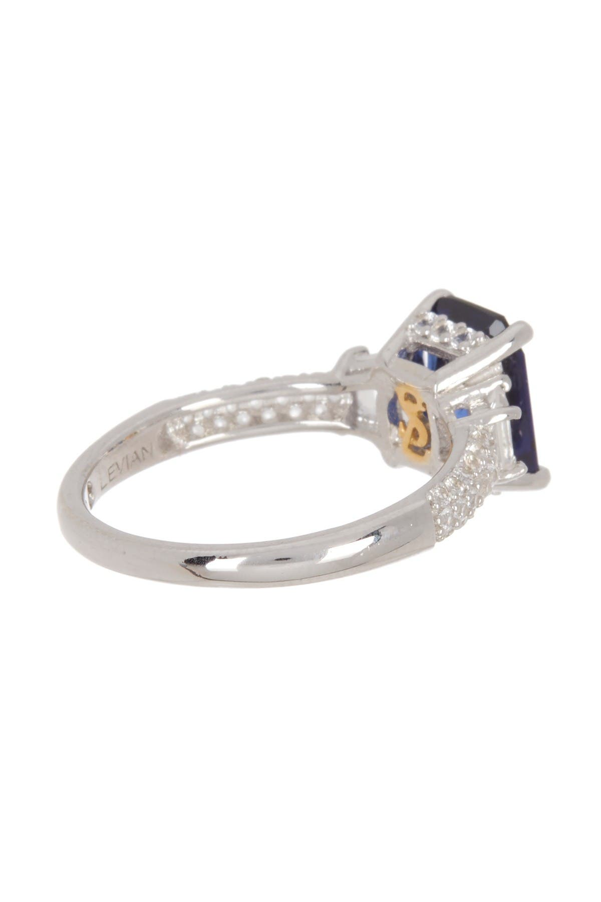 Image of Suzy Levian Sterling Silver Rectangular Sapphire Diamond Accent Ring - 0.02 ctw