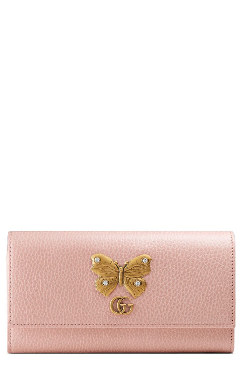 GUCCI Farfalla Leather Continental Wallet, Main, color, PERFECT PINK/ CRYSTAL