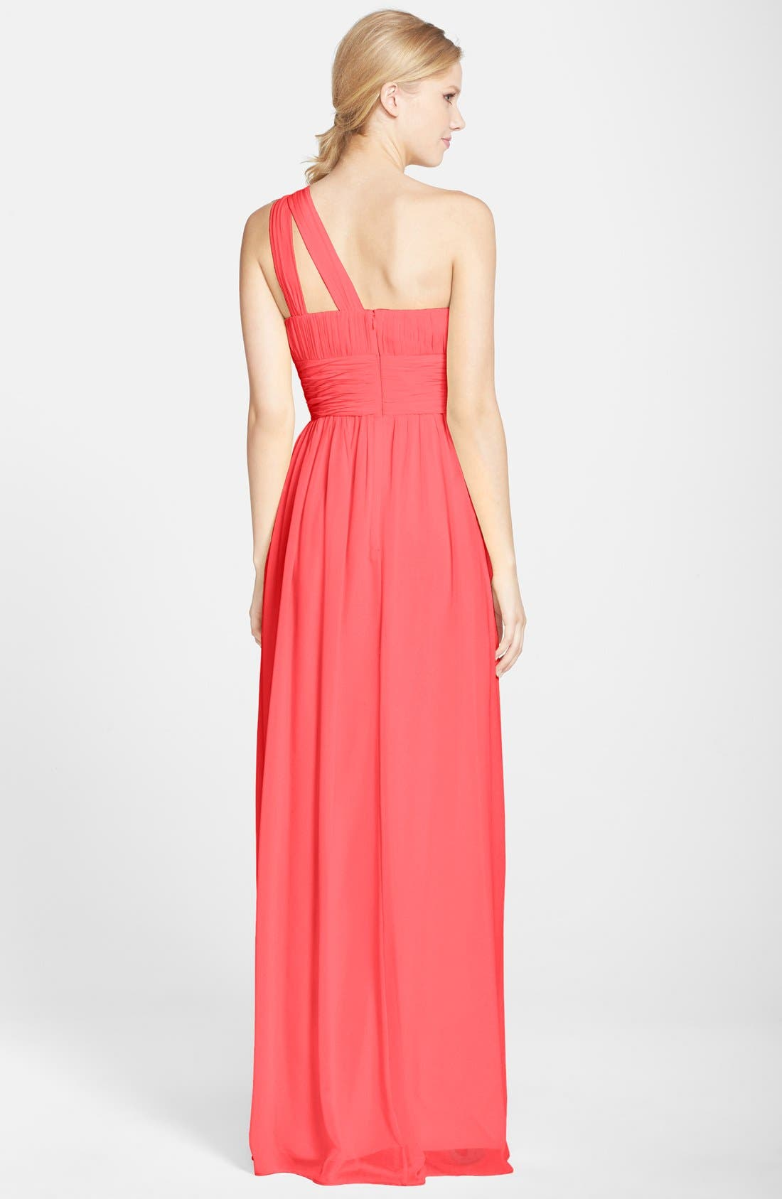 ,                             'Rachel' Ruched One-Shoulder Chiffon Gown,                             Alternate thumbnail 142, color,                             955