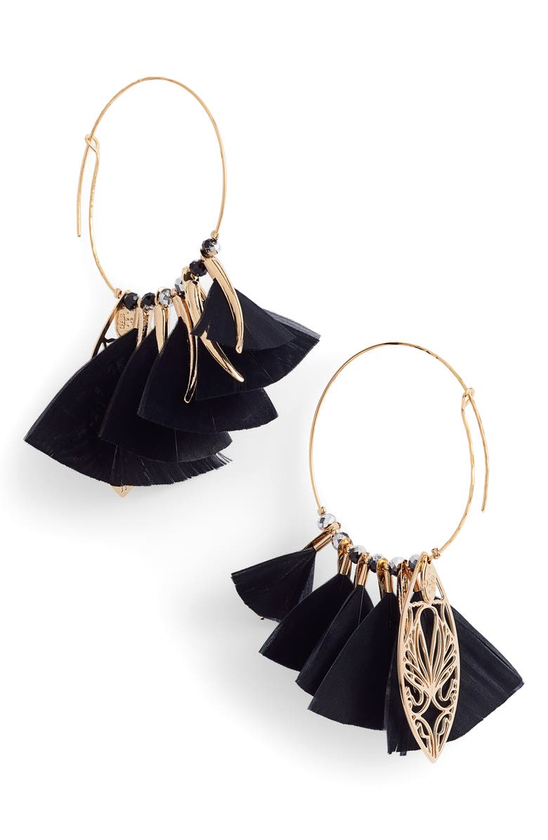 GAS BIJOUX Marly Feather Drop Earrings, Main, color, 011