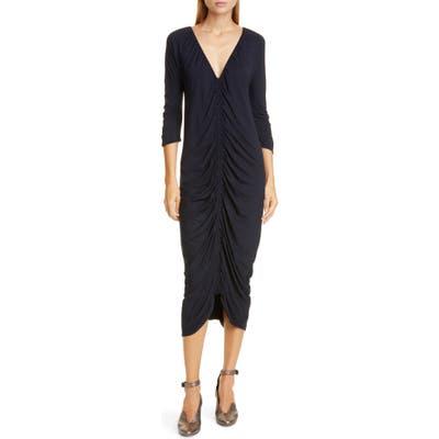 Zero + Maria Cornejo Kiara Ruched Midi Dress, Black