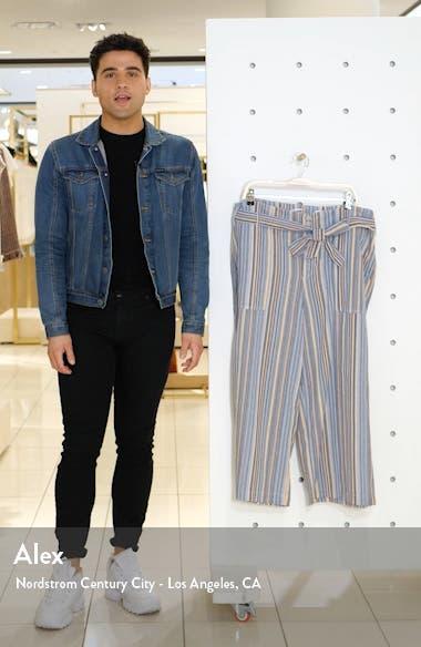 Stripe Tie Waist Wide Leg Crop Cotton Pants, sales video thumbnail