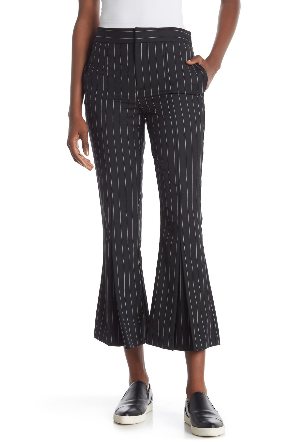 Image of FRAME Striped Pleated Hem Crop Pants