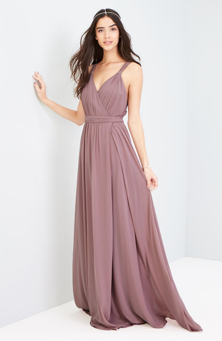 JOANNA AUGUST Knot Strap Chiffon Wrap Gown, Main, color, 650
