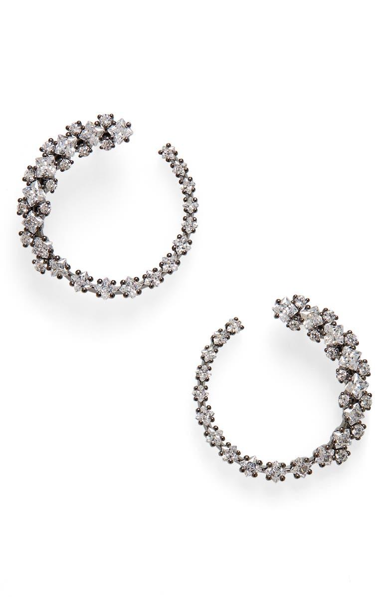 NADRI Tulle Frontal Hoop Earrings, Main, color, RUTHENIUM
