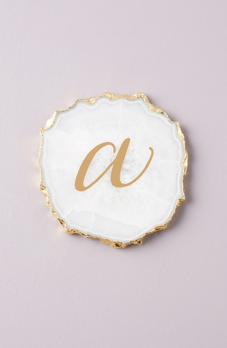 ANTHROPOLOGIE HOME Monogram Agate Coaster, Main, color, A