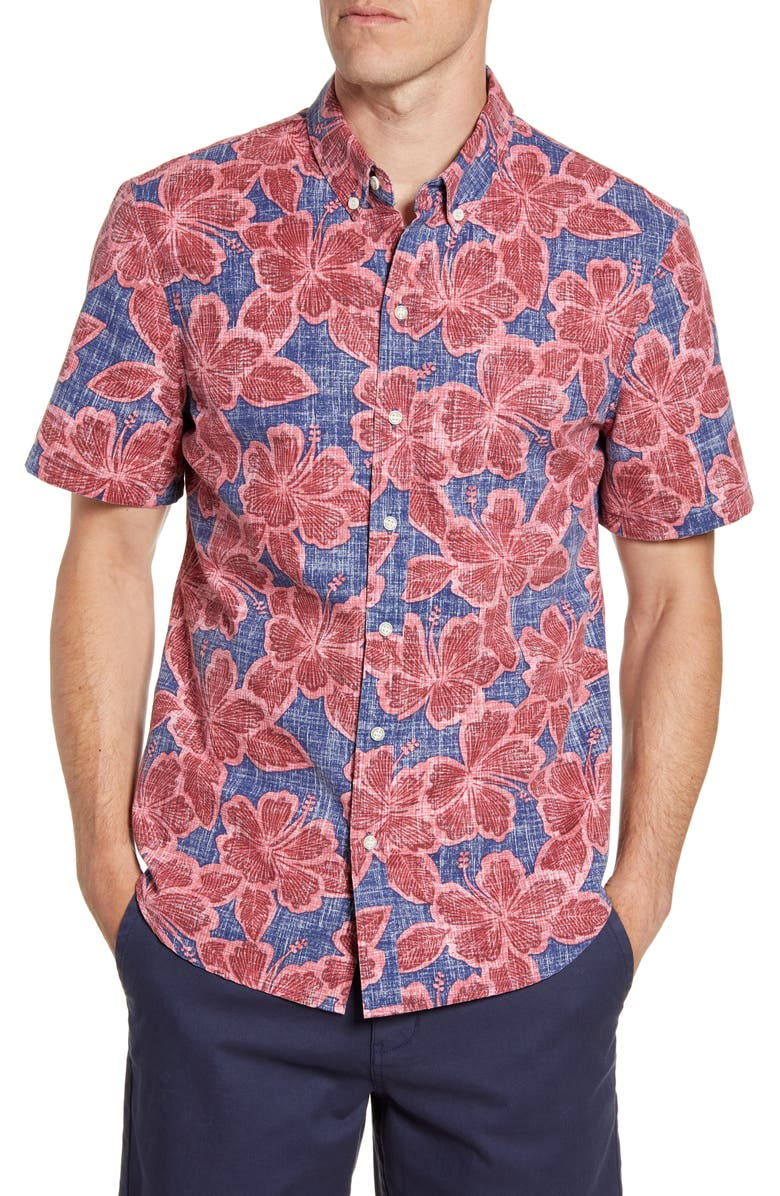 REYN SPOONER Hibiscus Orchard Tailored Fit Floral Short Sleeve Button-Down Shirt, Main, color, MEDIEVAL BLUE