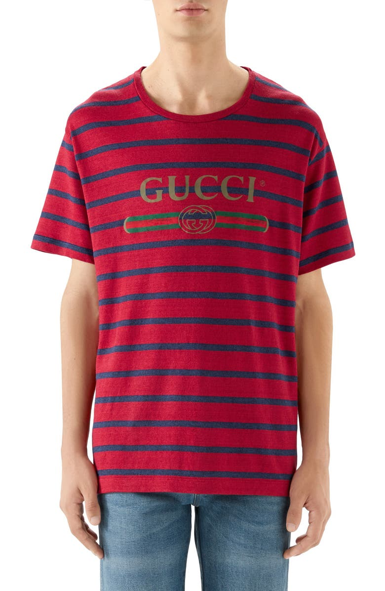 GUCCI Stripe Logo Oversize Linen & Cotton T-Shirt, Main, color, RED