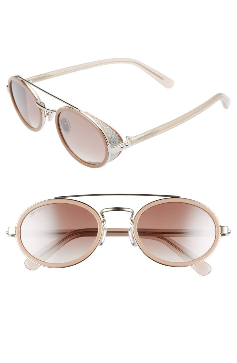 JIMMY CHOO Tonies 51mm Round Sunglasses, Main, color, PINK SILVER/ BROWN GRAD MIRROR