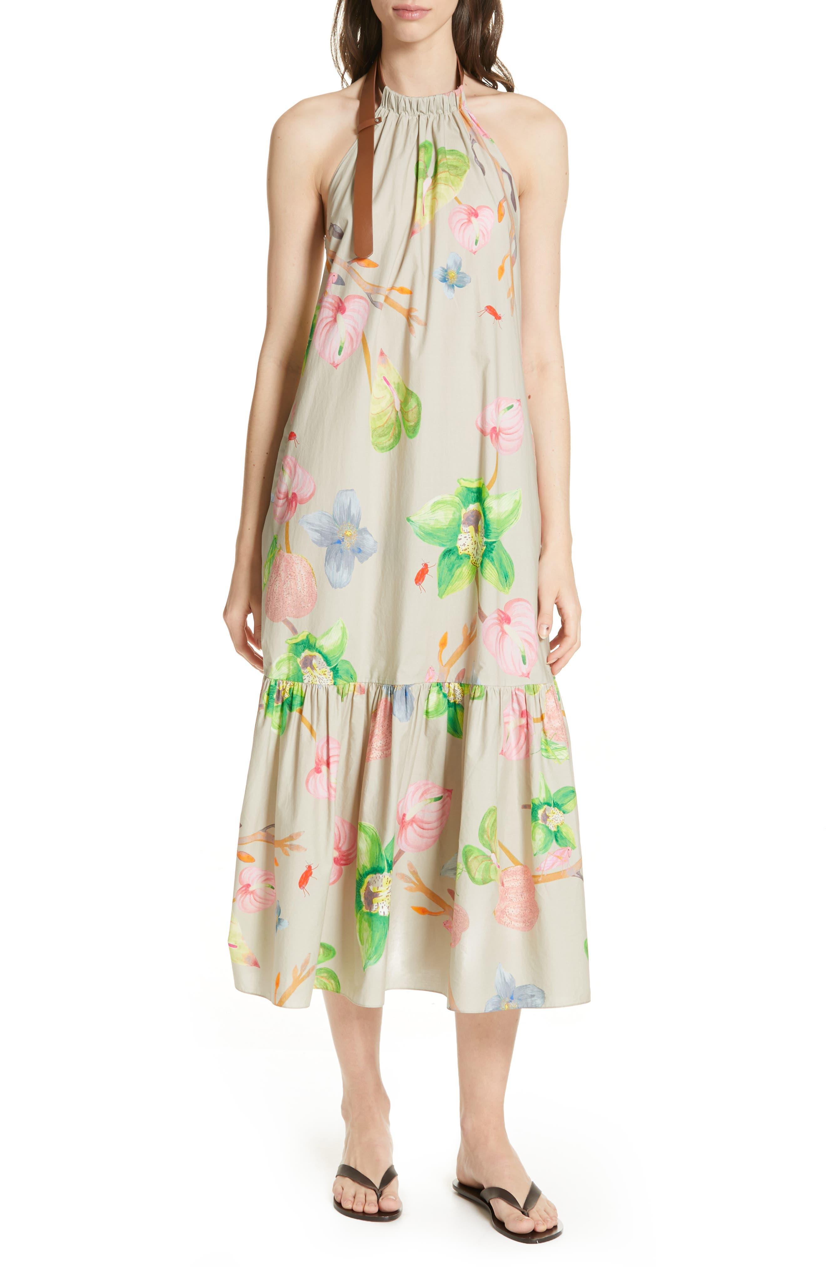 Tibi Linnea Floral Print Poplin Halter Midi Dress, Beige
