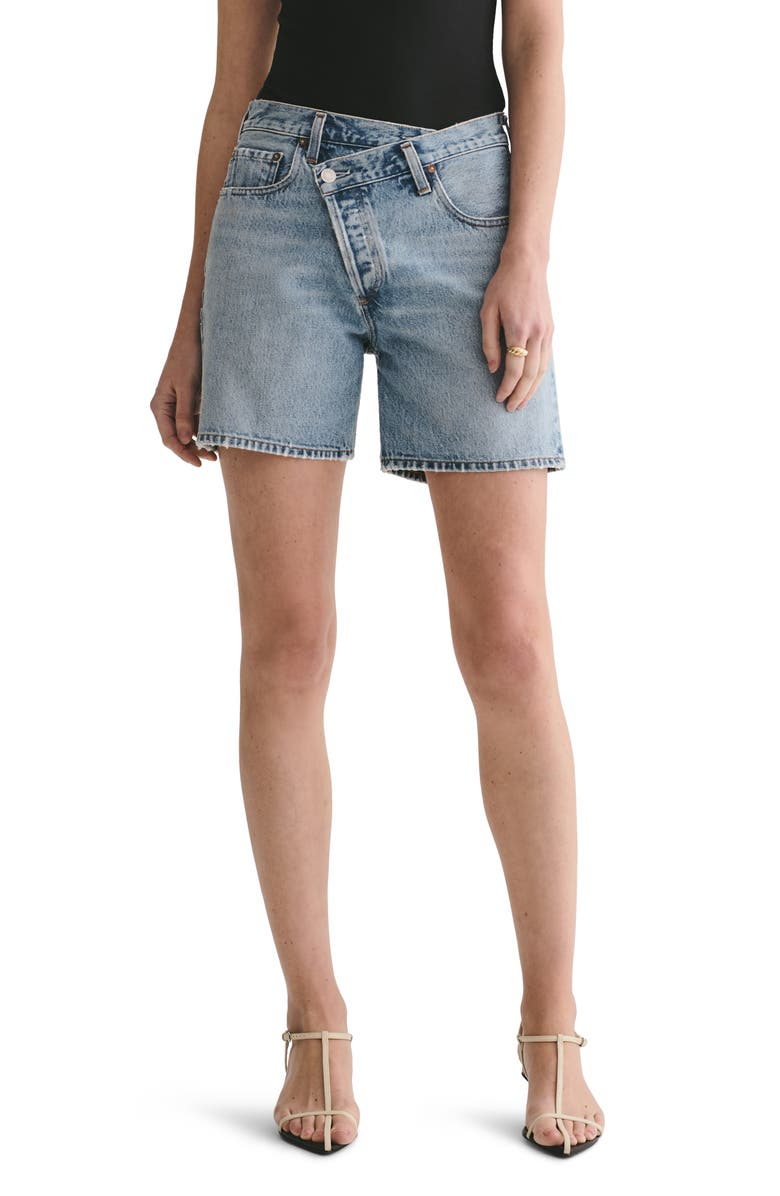 AGOLDE Criss Cross Upsized Organic Cotton Denim Shorts, Main, color, MOMENTUM