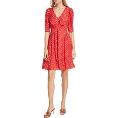 Rebecca Taylor Sunrise Dot Silk Blend Dress, Red