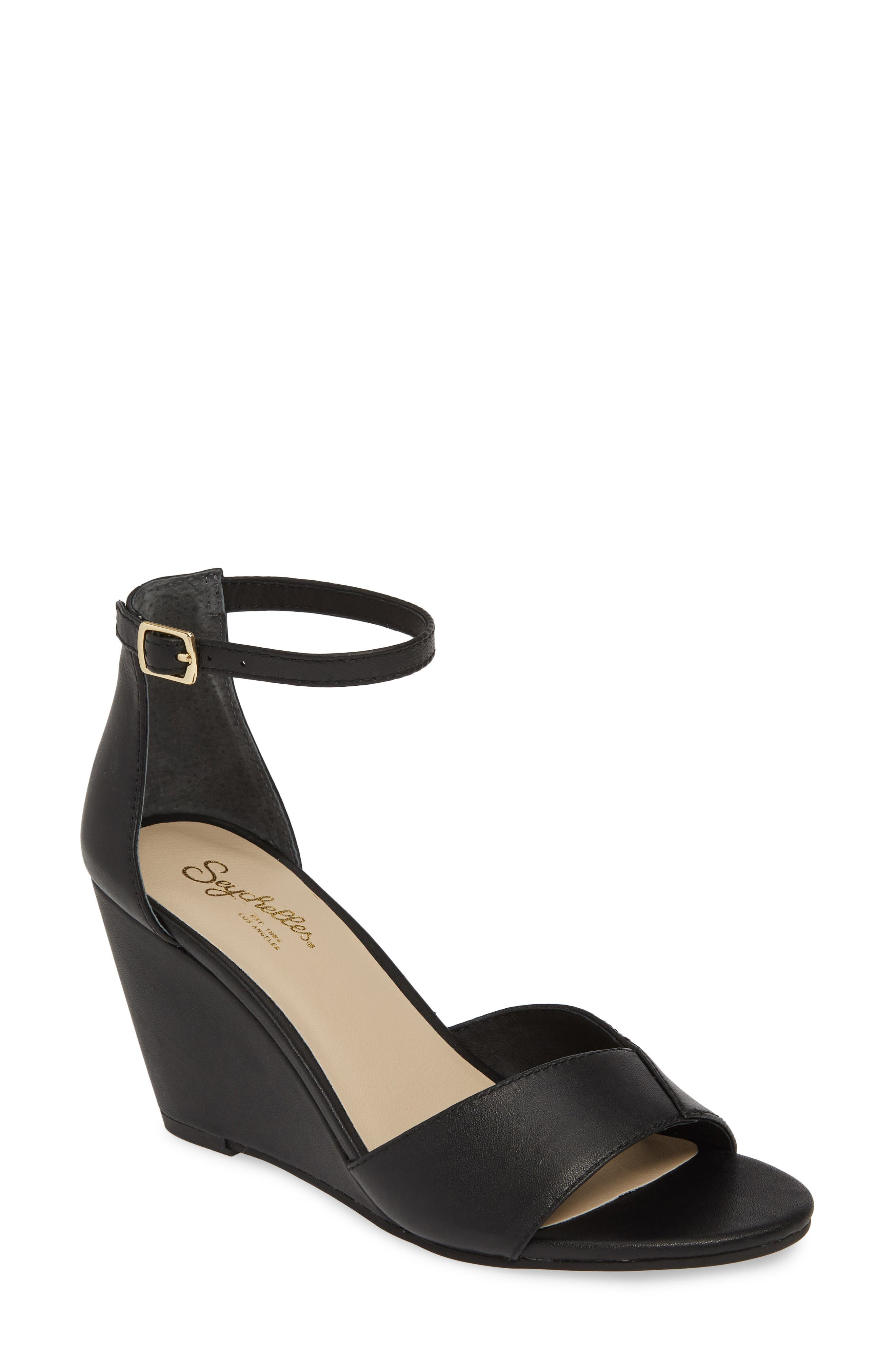 Seychelles Dual Purpose Wedge Ankle Strap Sandal, Black