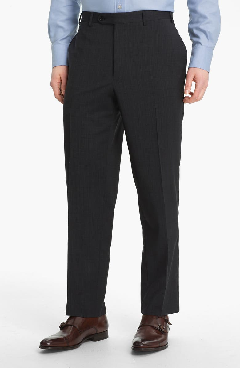 CANALI Flat Front Wool Trousers, Main, color, BLACK