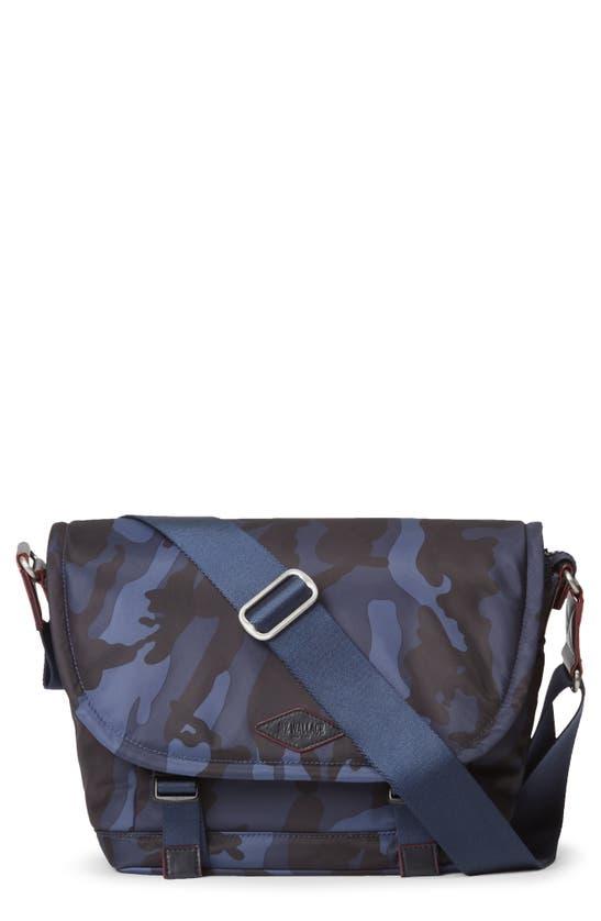 Mz Wallace Small Bleecker Nylon Messenger Bag In Dark Blue Camo