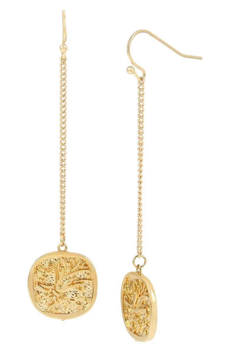ALLSAINTS Linear Coin Drop Earrings, Main, color, GOLD