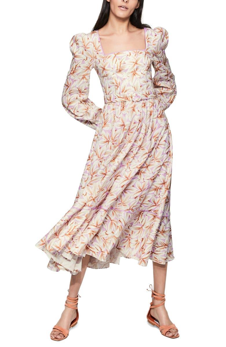 JONATHAN SIMKHAI Ella Floral Long Sleeve Linen Blend Midi Dress, Main, color, 500