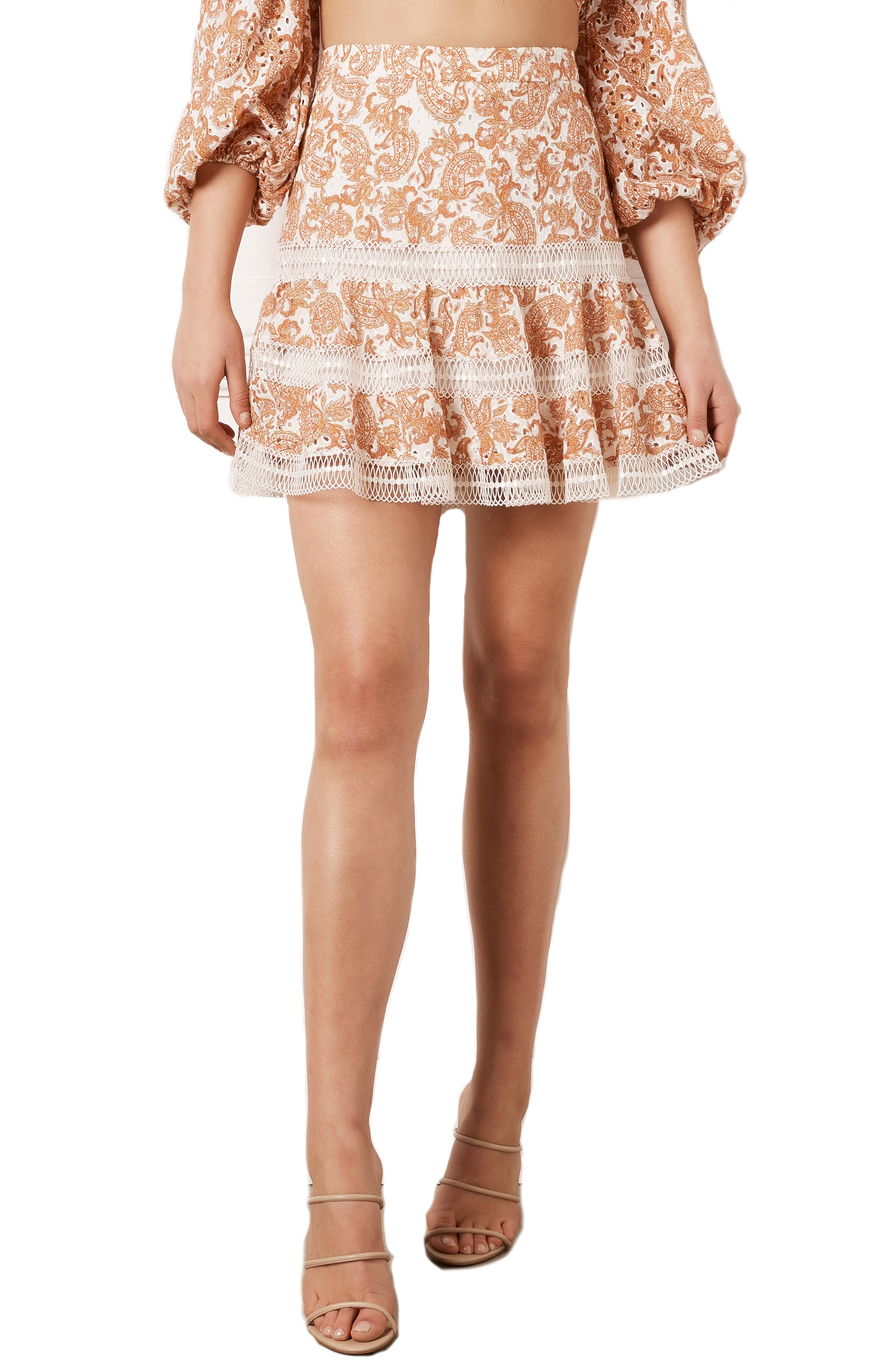 Paisley Embroidered Miniskirt