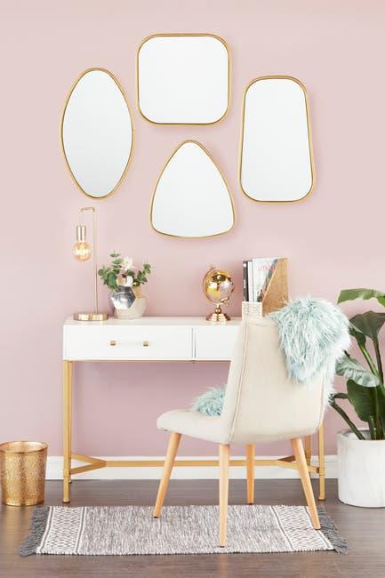 Image of CosmoLiving by Cosmopolitan Large Geometric Metallic Gold Wall Mirror - Set of 4