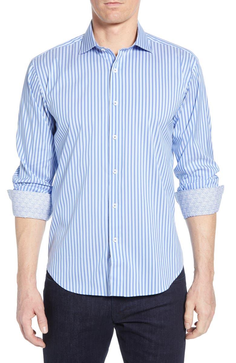 BUGATCHI Shaped Fit Stripe Performance Shirt, Main, color, CLASSIC BLUE
