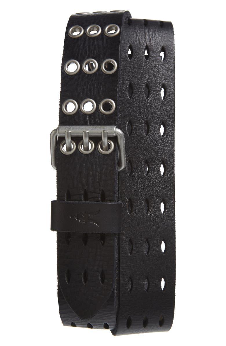 ALLSAINTS Perforated Leather Belt, Main, color, BLACK