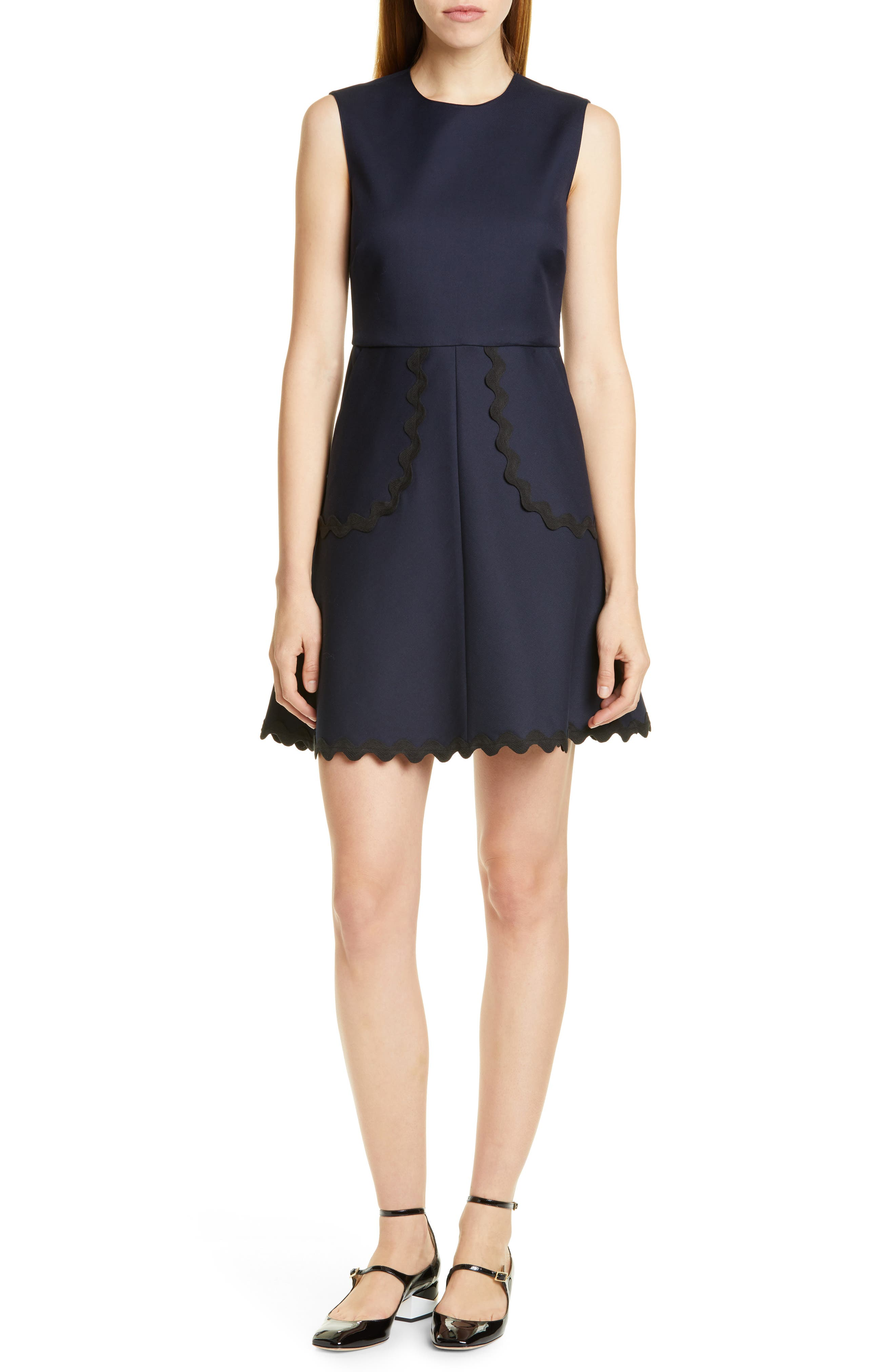 Red Valentino Rickrack Trim A-Line Minidress, US / 48 IT - Blue