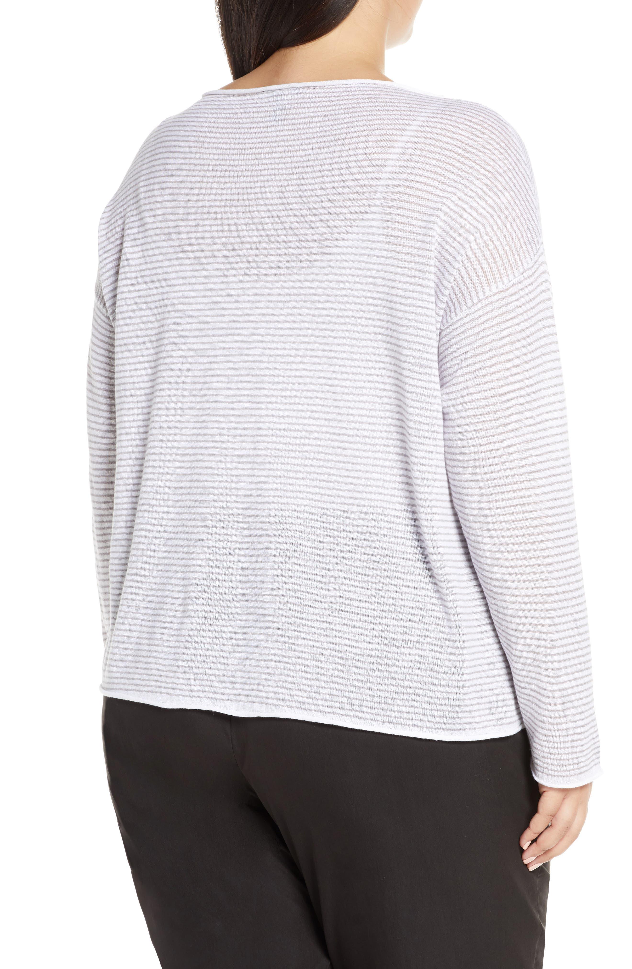 ,                             Stripe Linen & Cotton Top,                             Alternate thumbnail 2, color,                             DOVE