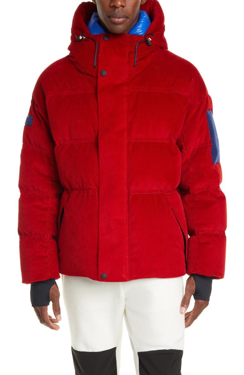 MONCLER GRENOBLE Stuller Hooded Corduroy Puffer Jacket, Main, color, DARK RED