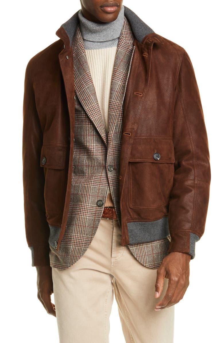 BRUNELLO CUCINELLI Suede Jacket, Main, color, BROWN