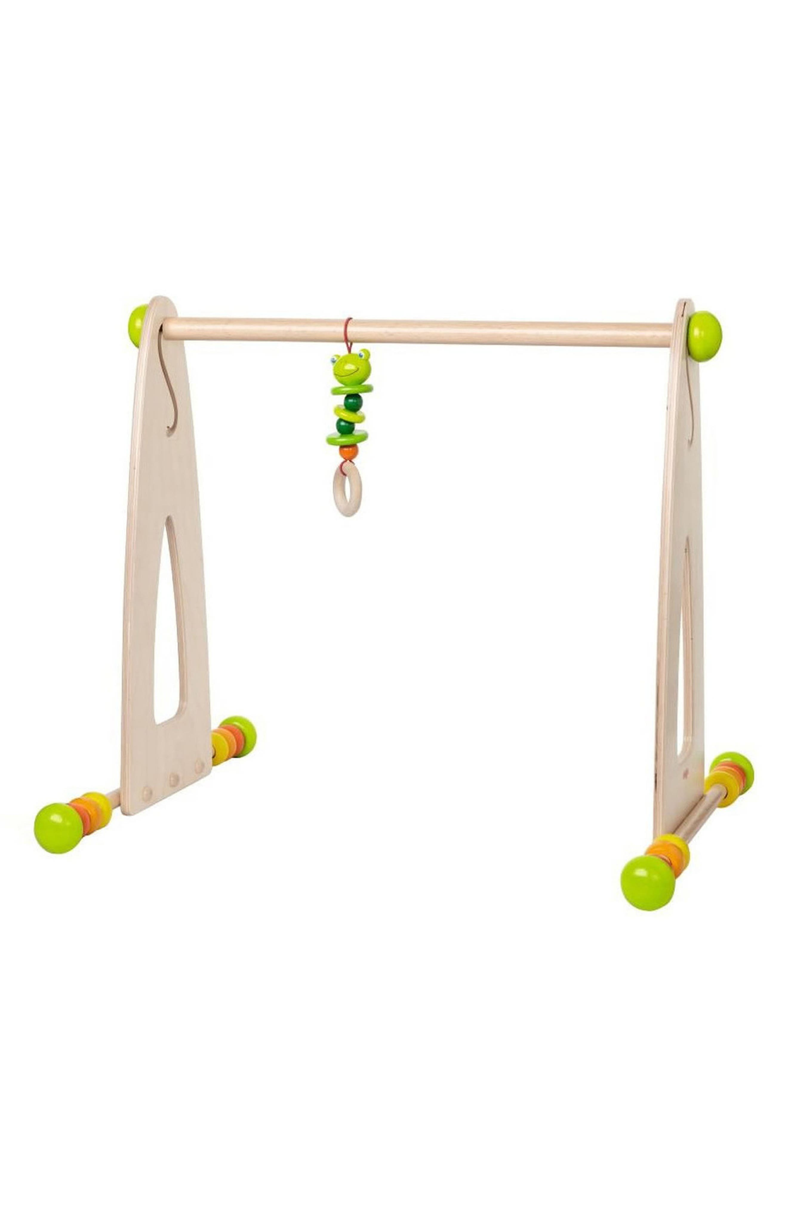 Little explorers will love the sound of cheerfully colored wooden disks that happily bang together on this clickety-clacking play gym. Above, a little frog hanging on the discovery bar is in reach of baby\\\'s hands. Style Name: Haba Colorful Fun Play Gym. Style Number: 6056027. Available in stores.