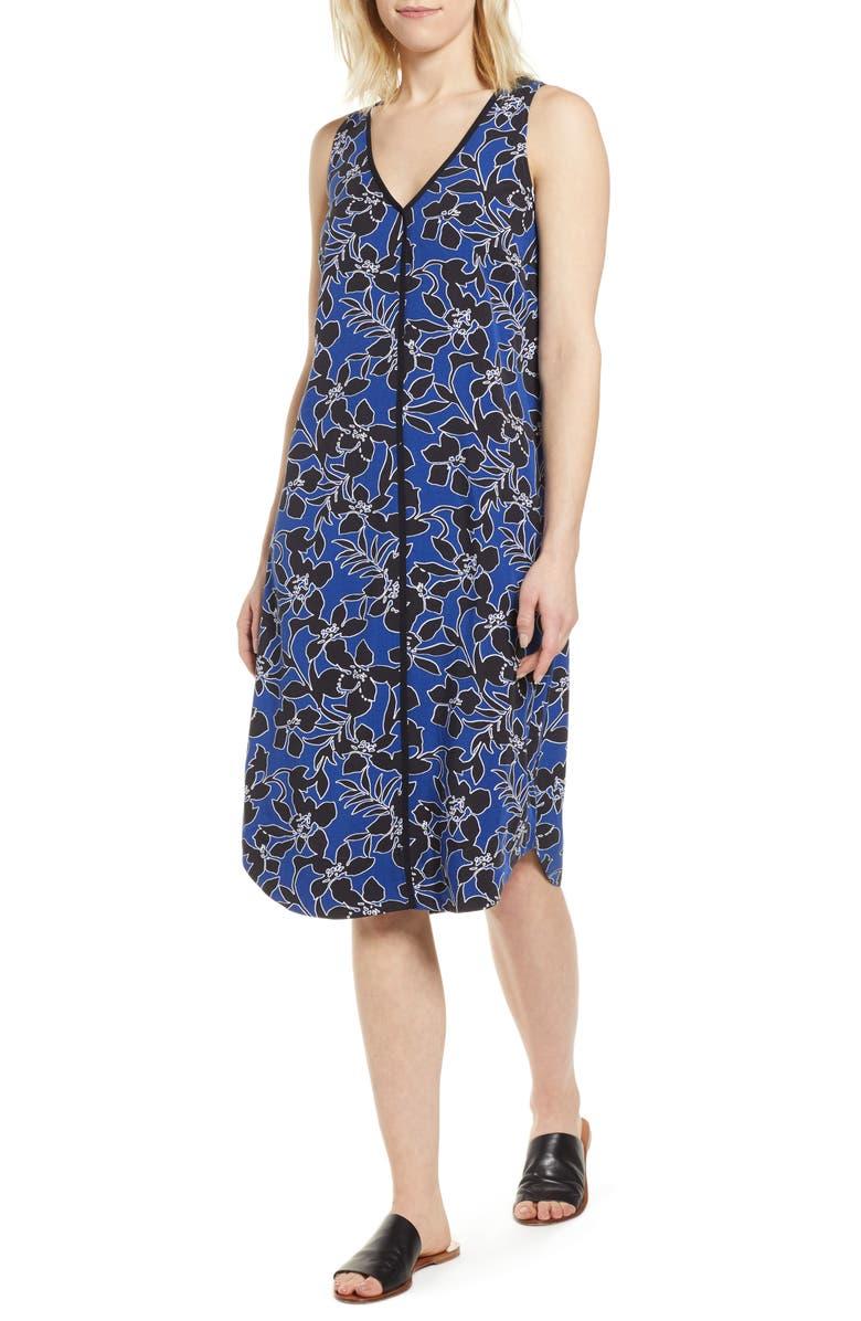 TOMMY BAHAMA Forte Floral Shift Dress, Main, color, DARK COBALT