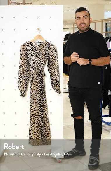 Leopard Print Long Sleeve Silk Satin Midi Wrap Dress, sales video thumbnail