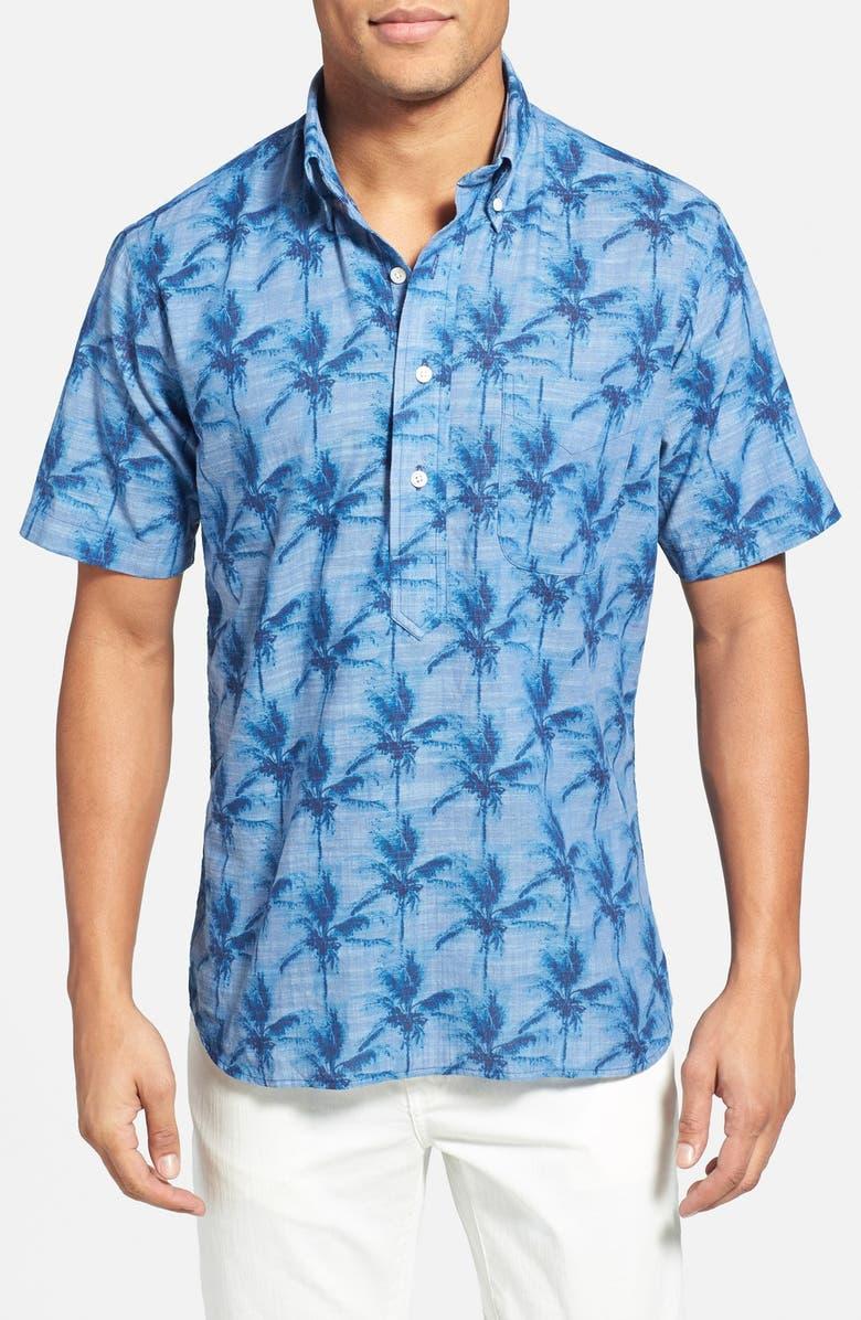 GITMAN Regular Fit Palm Print Popover Sport Shirt, Main, color, 400